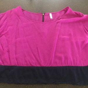 Purple short sleeve Xhilaration zip back blouse